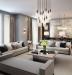 Интерьер гостиной-столовой в современном английском стиле с витражным остеклением
